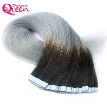 1B серебро ленты в человеческий волос Бразильский прямые волосы, кожа утка волос 100% remy Хай 50 г 20 шт./компл. Мечтая Королева волос