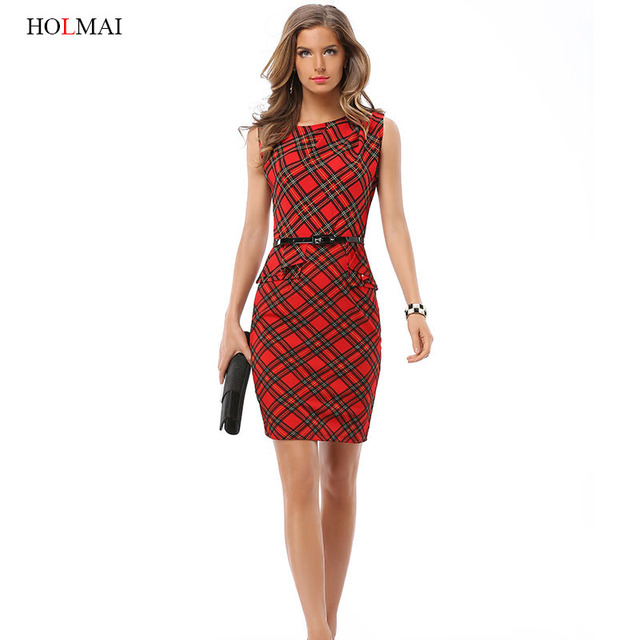 Holmai 2017 Summer Plaid Womens Elegant Fitted Formal Dress Plus