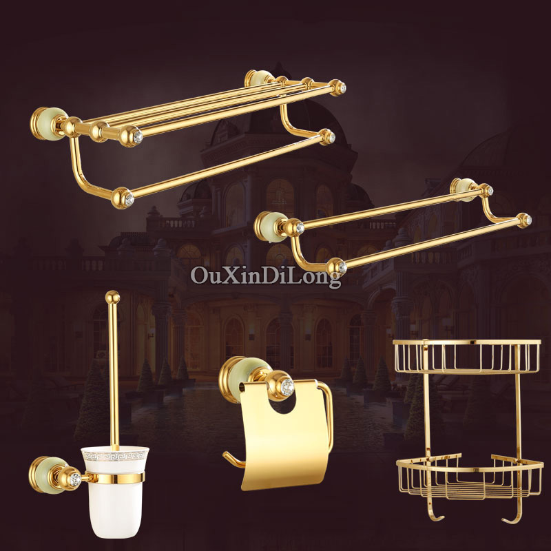 Luxury European Brass Bathroom Accessories Bath Shower Towel Racks Shelf Towel Bar Soap Dishes Paper Holder Cloth Hooks Hardware european towel rack paper holder hooks bath hardware set copper racks rose gold ceramic base bathroom hardware accessories ym6