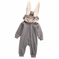 Newborn Infant Baby Girl Boy Clothes Cute 3D Bunny Ear Romper Jumpsuit Playsuit Autumn Winter Warm