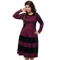 2018 Vintage Women Dress Velvet Flare Party Dress 5XL 6XL Plus Size Women Clothing Long Sleeve