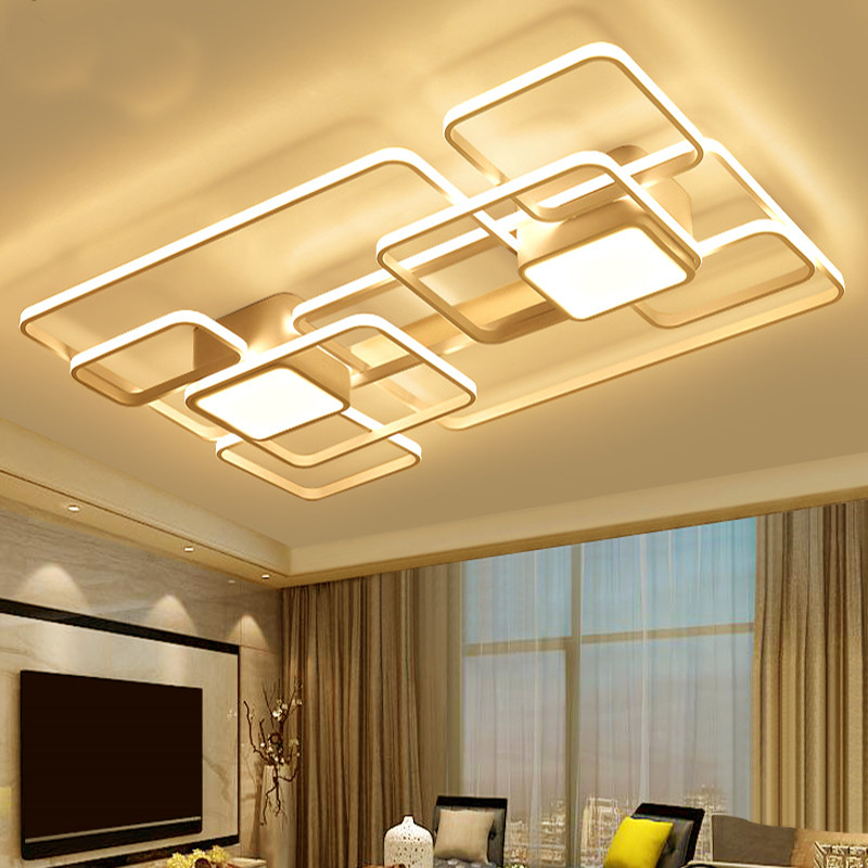 Post-Modern LED Ceiling Lights Novelty iron rectangle hanging lamps living room bedroom dinning room Art Deco LED Ceiling Lights chandeliers lights led lamps e27 bulbs iron ceiling fixtures glass cover american european style for living room bedroom 1031