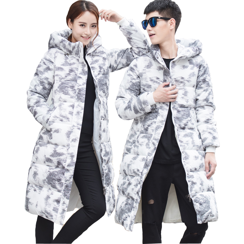 Winter Thick Knee Length Korean Slim Padded Cotton Tide Couple Warm Female Stand Collar Hooded Women   Parkas   Femme Hiver MZ1999