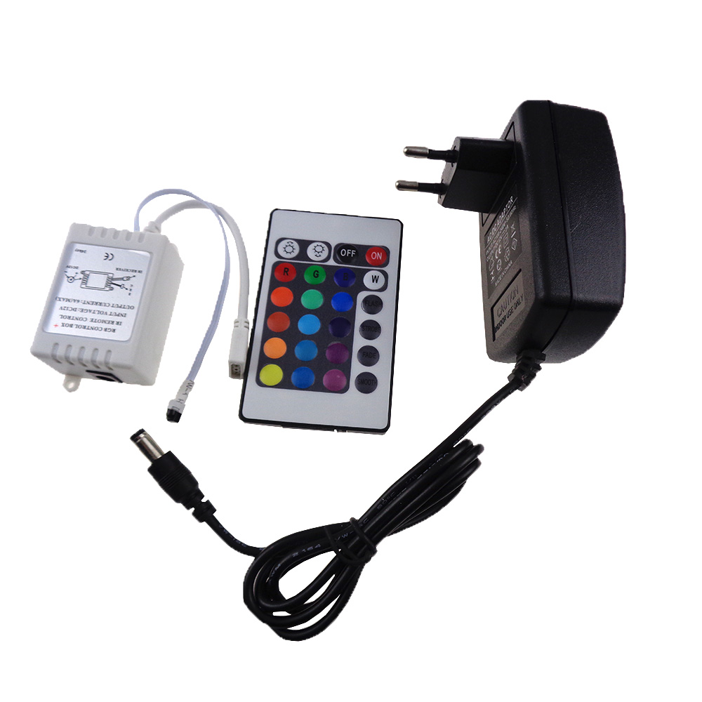 24 Key IR Remote Controller Wireless +DC 12V 2A Power Supply Adapter Connector For RGB LED Strip Flexible Light Tape 5050 3528