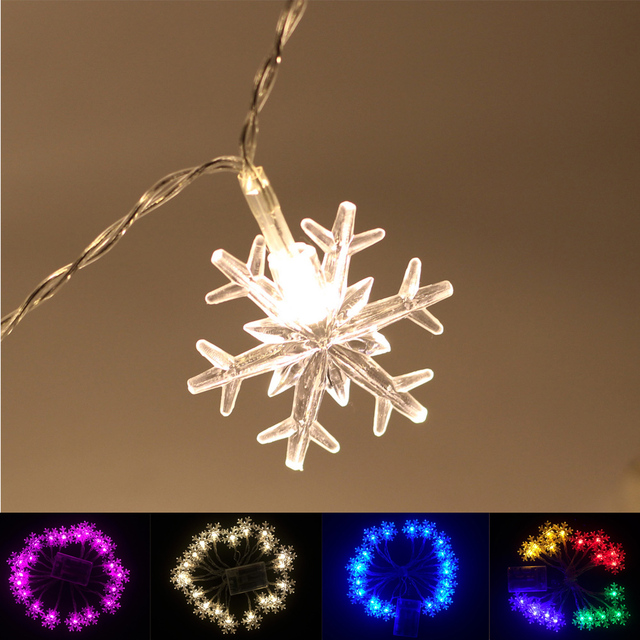 new year christmas decoration 20 led battery white snowflake string lights mini rope lighting frozen garden