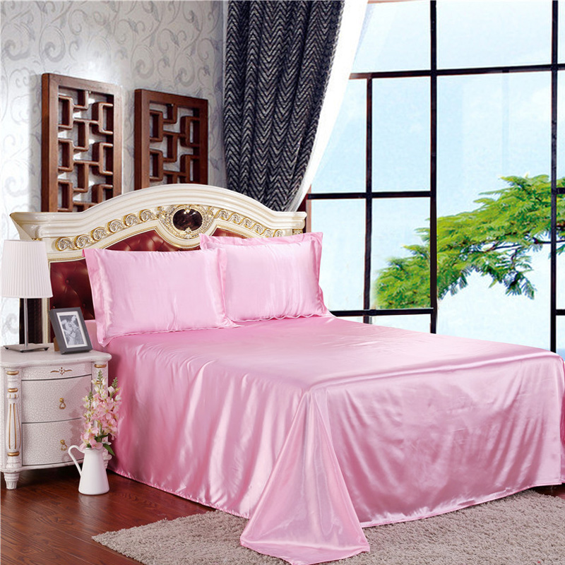 New Silk Texture Home Textile Bedding Sets Solid Color 3/4pcs Beddingset Bed Linen Duvet Cover Bed Sheet Pillowcase Bed Set