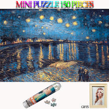 MOMEMO Starry Night Puzzle 150 Pieces Mini Tube Paper Jigsaw Adults Old Master Puzzles Toys Teens Gifts with Photo Frame
