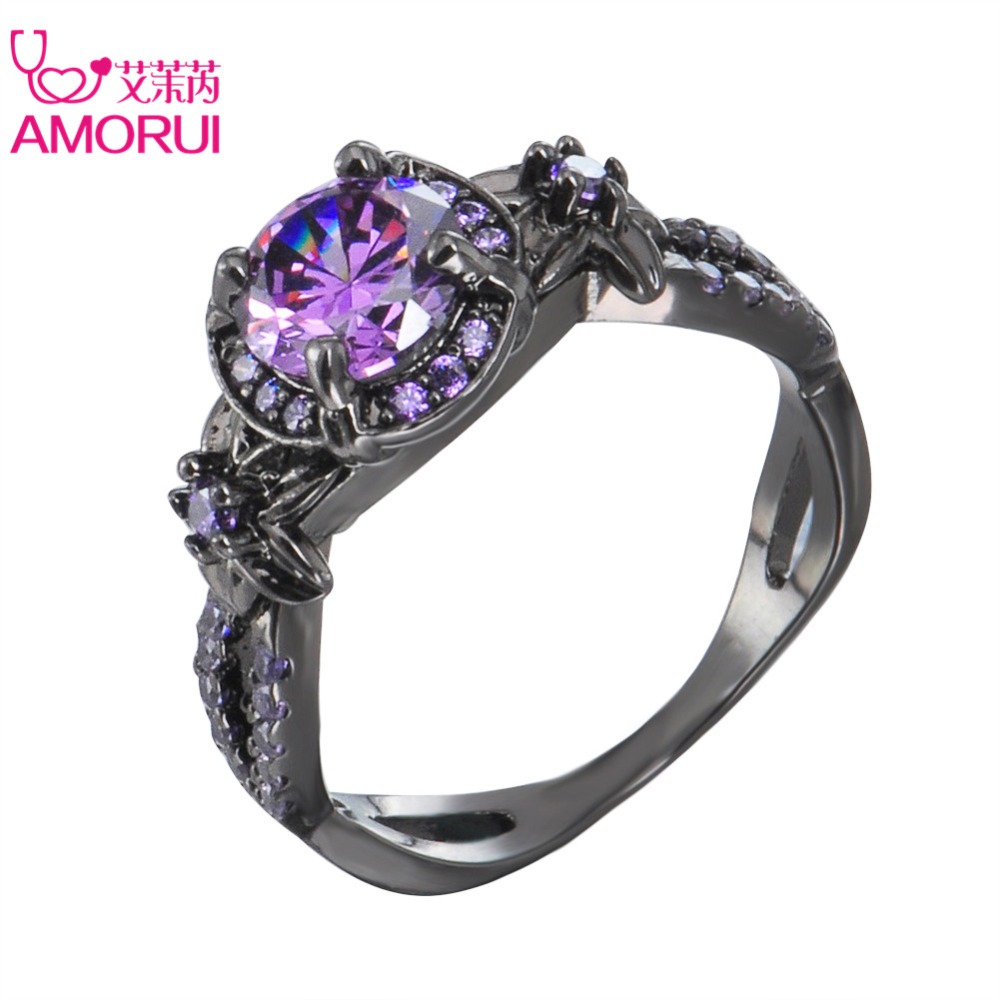 AMORUI Women Trendy Wedding Bands Alloy Black Color Love Ring Purple Cubic Zircon Rings for Women