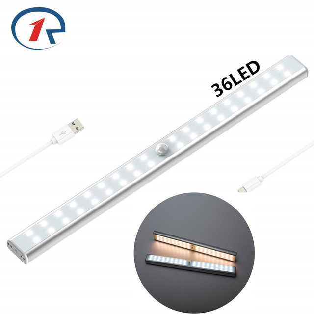 ZjRight 36 Led USB Rechargeable battery PIR sensor cabinet Lamp Auto Motion Kitchen bedroom Wardrobe indoor Stair wall lights