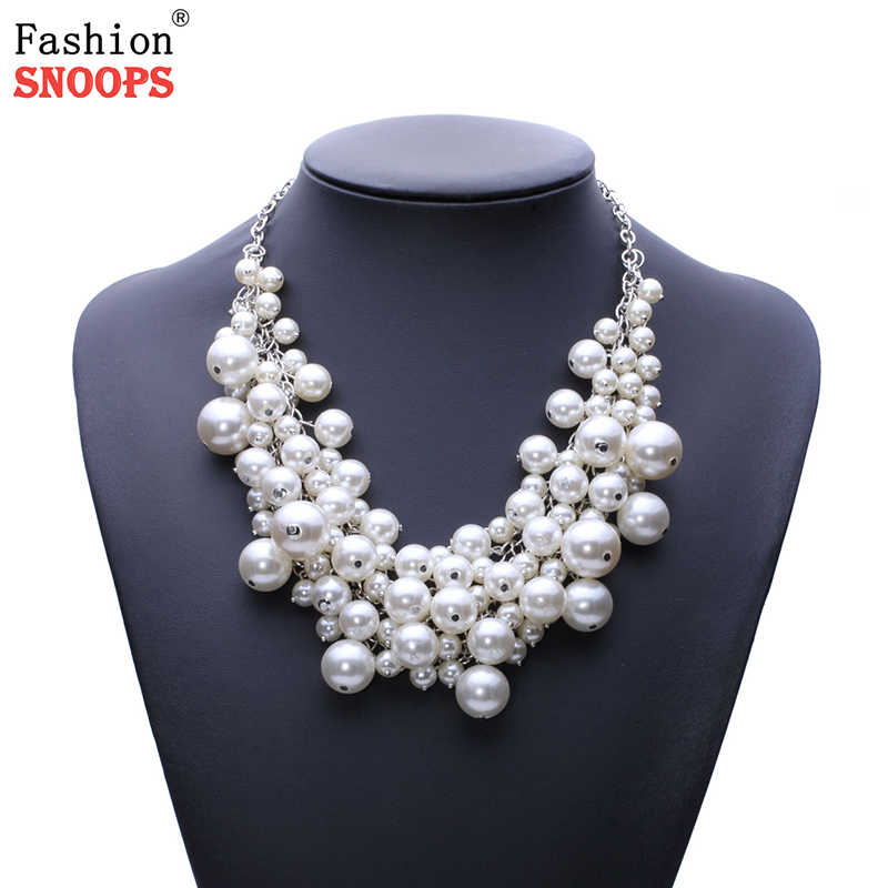 New Arrival fashion chunky luxury simulated pearl pendant Necklace statement jewelry for women