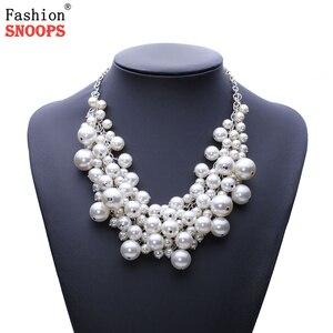New Arrival moda chunky luksusowe imitacja perły wisiorek wyróżniający się naszyjnik biżuteria dla kobiet