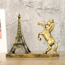 Creative Eiffel Tower Horse Ornament With Pen Holder Desktop Decoration Artesanato Night Light Christmas Gifts For Children(China)