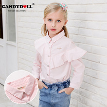CANDYDOLL New fall girls shirt cotton striped long-sleeve childrens fashionable personality blouse pink lovely