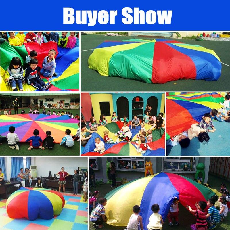 Enfants Sports en plein air arc-en-ciel parapluie, 16 pieds/5 mètres Parachute jouet Parents enfants Camping jouet interactif pour saut-sac jouer - 3