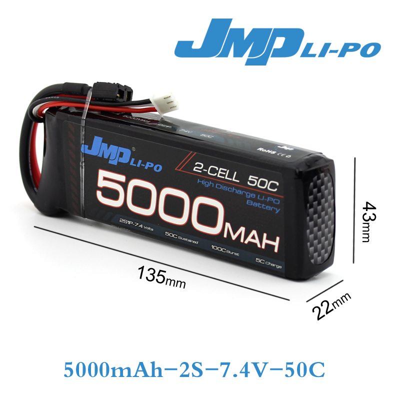 JMP Lipo Battery 2S 5000mAh Lipo 7.4V Battery Pack 50C Battery for 1/10 Car 1/8 RC Car for Traxxas Slash Emaxx Bandit 7 4v 500mah 50c lipo battery