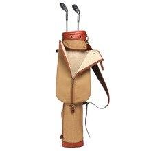 Tourbon Vintage Golf Club Bag Canvas & Leather Khaki Gun Carrier w/ Pocket Fleece Padded Pencil Style Clubs Cover 89CM