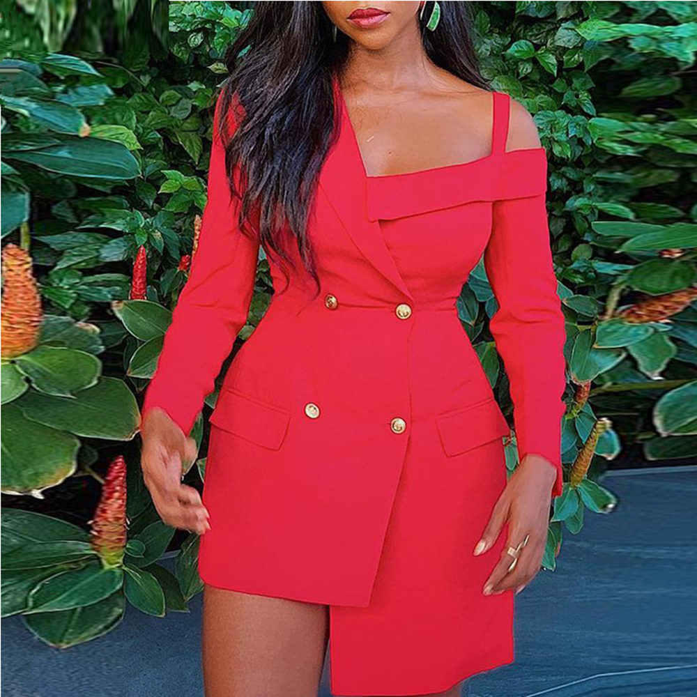 Women Autumn Double Breasted Blazer Dress Off Shoulder Long Sleeve Red Elegant Dress Above Knee Mini Turn-down Collar Dress 2019