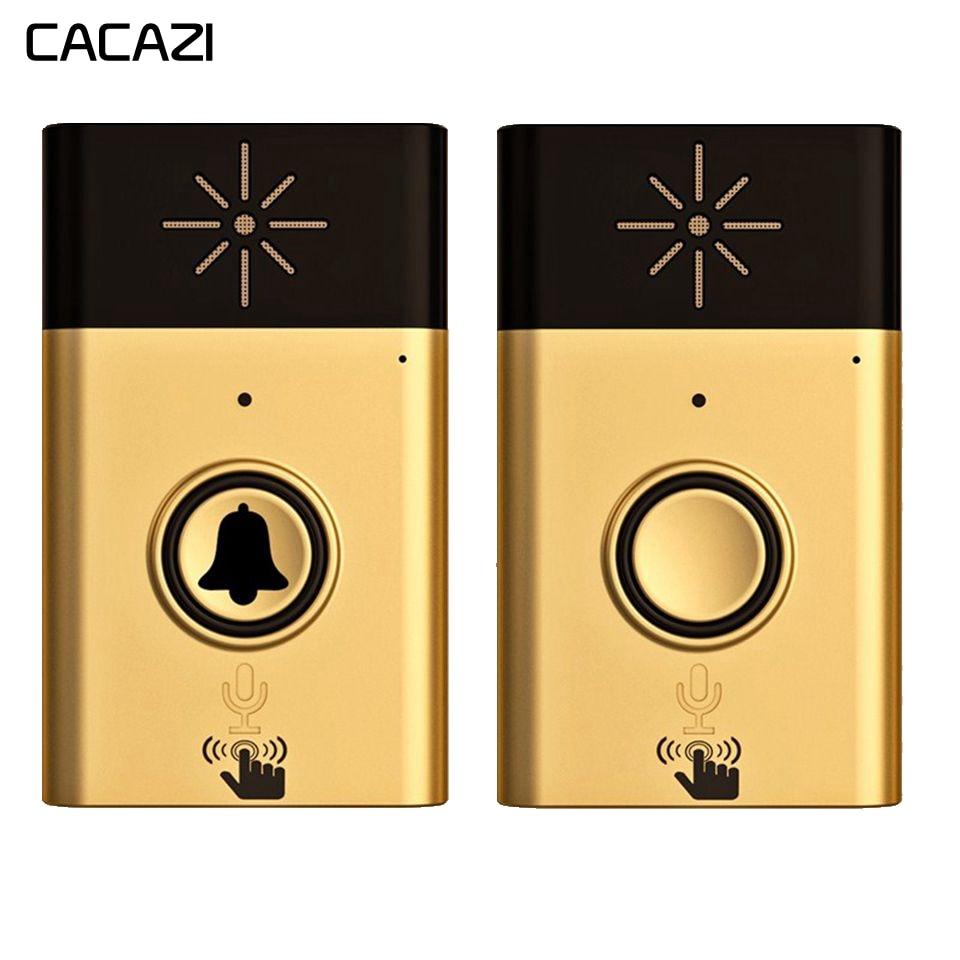 Wireless Doorbell With Voice Intercom Intelligent Battery Mobile Interphone 300M Distance Outdoor Transmitter + Indoor Receiver
