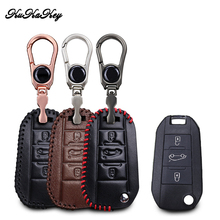 KUKAKEY Leather Car Key Case Cover Bag For Peugeot 3008 208 308 508 408 2008 307 4008 3 Button Car Remote Key Skin Holder недорого