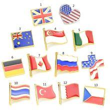 Enamel American Britain Russia Flag Lapel Pin Brooch Patriotic Proudly Jewelry 5pcs waving american flag enamel lapel pin the united state brooch patriotic proudly jewelry