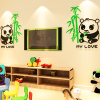 Cartoon panda Acrylic 3d Self adhesive Wall Stickers Children's room baby bedroom bedside TV sofa wall decoration painting