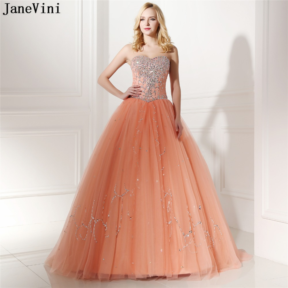 JaneVini Elegant Tulle Long   Bridesmaid     Dresses   Ball Gown Sweetheart Beads Crystal Floor Length Women Formal Prom Gowns Plus Size