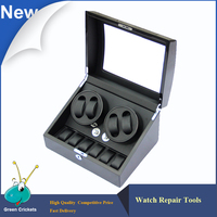High Grossy 4 6 Black Wooden PU Leather Inside Watch Winder Box 5 Modes Watch Mechanical