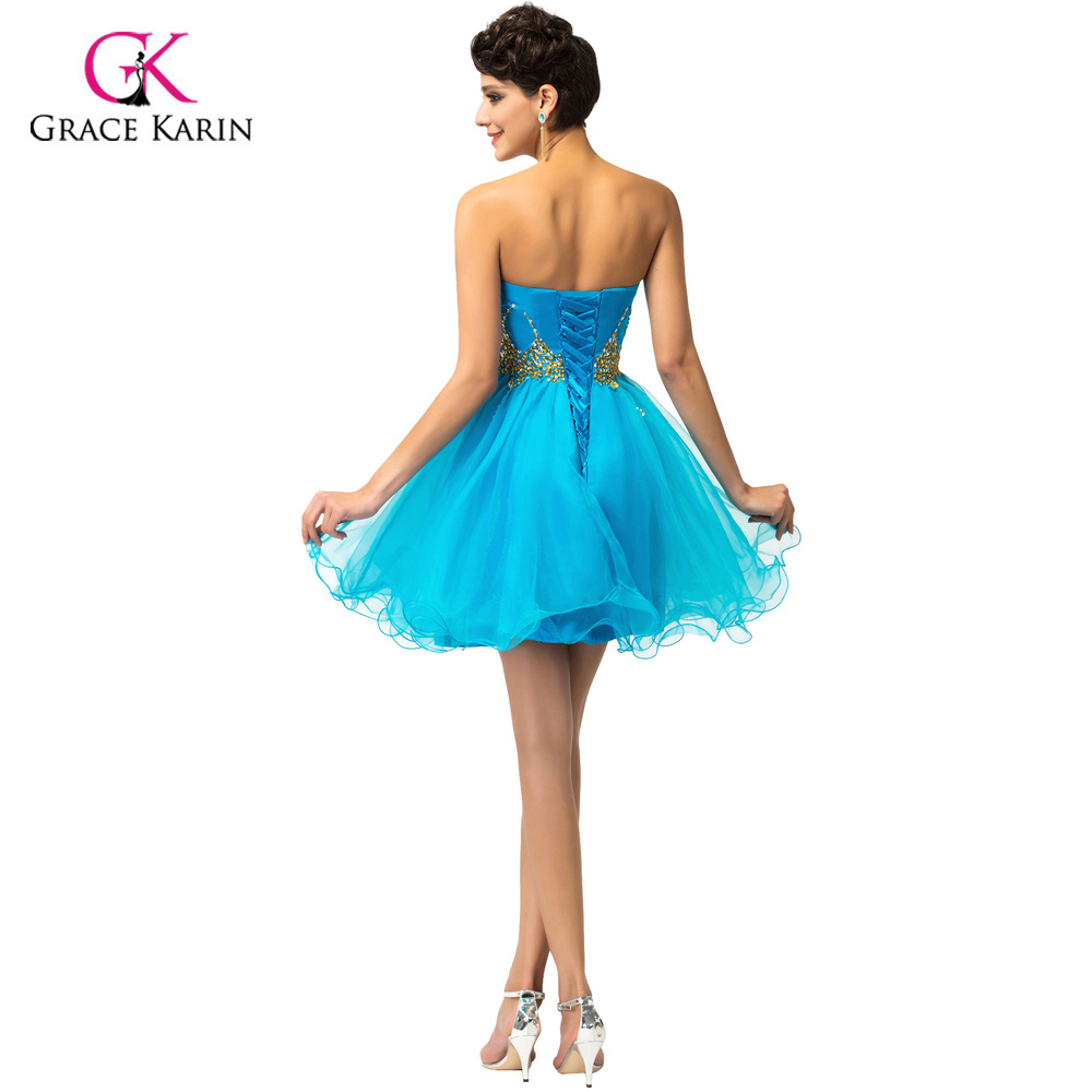 87c6af32d62 Grace Karin Blue Pink Short Prom Dresses 2018 Voile Ball Gown robe Cocktail  Back to School Homecoming Party Dress vestidos 4972-in Prom Dresses from ...