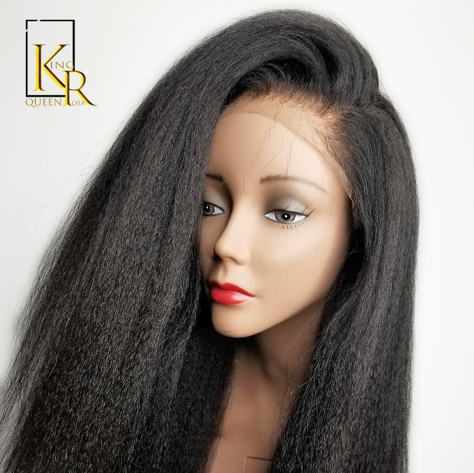 Kinky Straight Wig Brazilian Remy 13*4Lace Front Human Hair Wigs For Black Women Italian Yaki With Baby Natural PrePlucked VSBOB