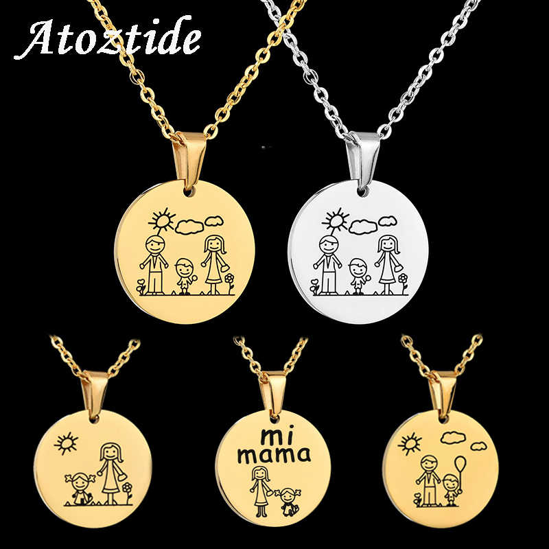 Atoztide 1 pcs Lovely Cartoon Stainless Steel Family Necklace Pendant With Mom Dad Boy Girl Heart Chain Necklace Christmas Gift
