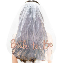 Rose Gold Bride to be White Wedding Veil Bridal Shower Wedding Supplies Kit Bachelorette Hen party Accessories Team Bride Boda fengrise white artificial rose bridal veil wedding decoration silk girl veil bachelorette party bride to be hen party decoration