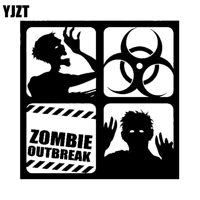 Yjzt 1212cm warning zombie outbreak corpse dead vinyl decal car sticker black silver personality car styling s8 1258 in car stickers from automobiles