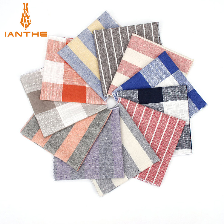 2018 Brand New Men's Fashion Linen Striped Pocket Squares For Men Handkerchief Wedding Vintage Check Suits Pocket Hankies Towel