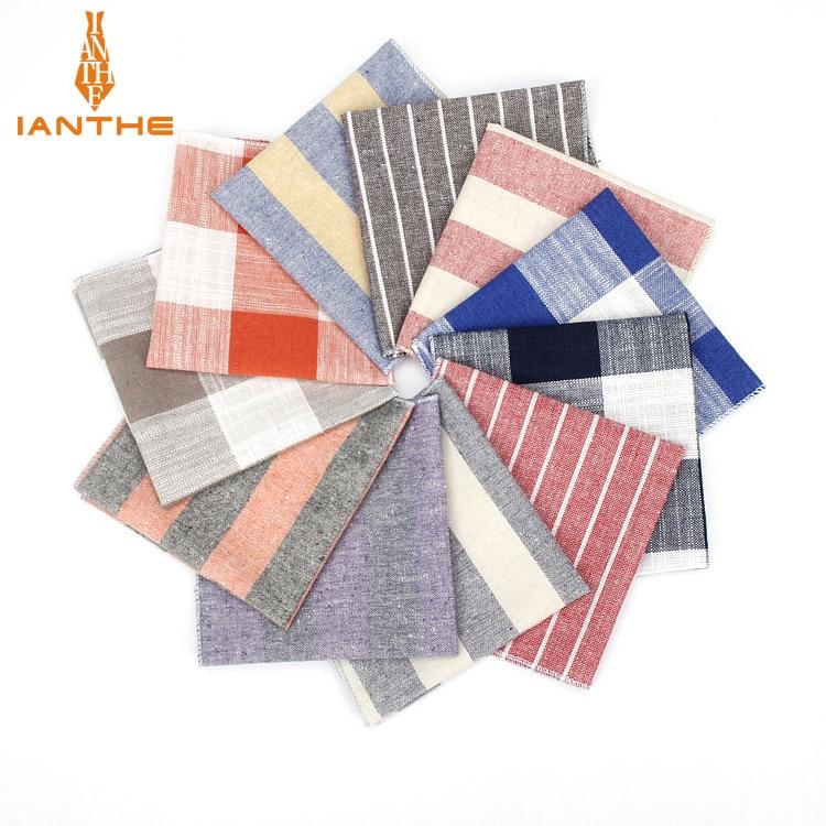2018 Brand New Men's Fashion Linen Striped Pocket Squares For Men Handkerchief Wedding Vintage Check Suits Pocket Hankies Towel