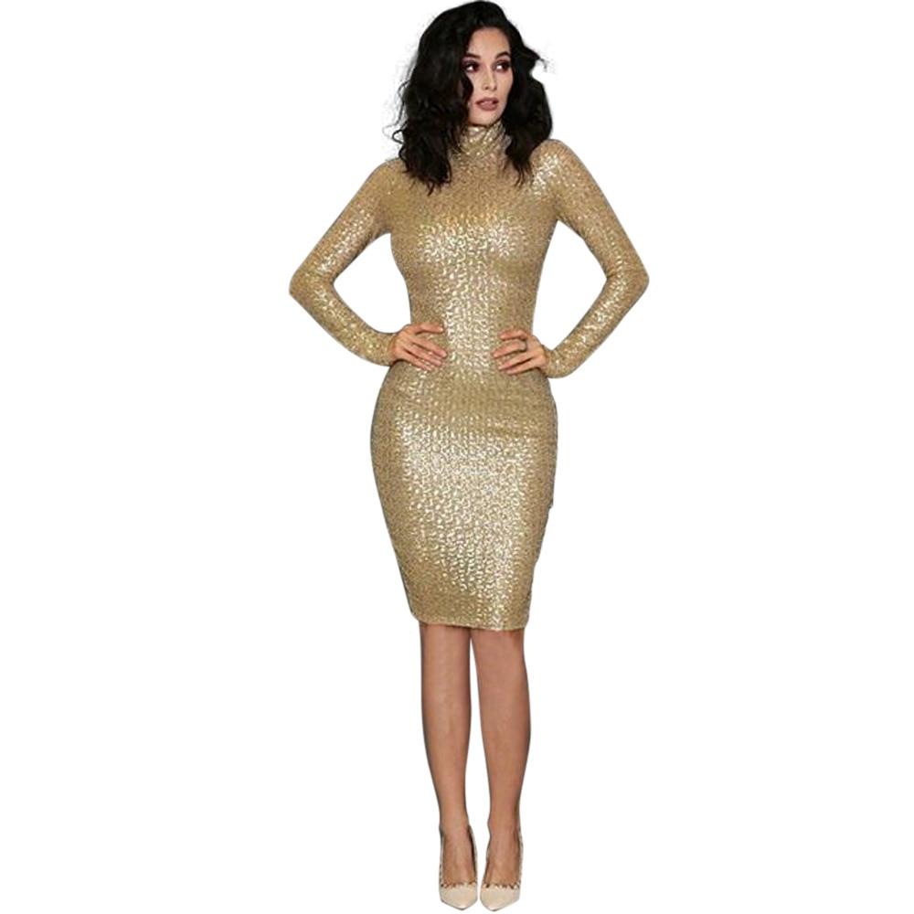 Long sleeve sequin dress knee length