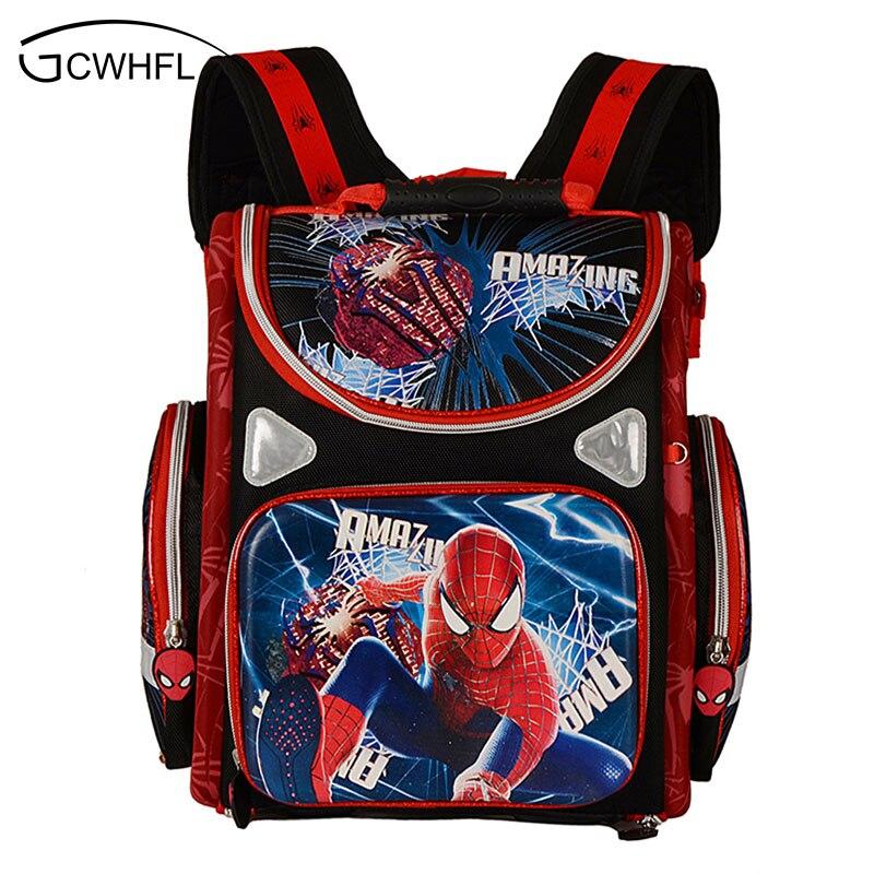 Kids Backpack School Orthopedic Boys School Bags Waterproof Child Book Bag Spiderman Motorbike Girls School Bags