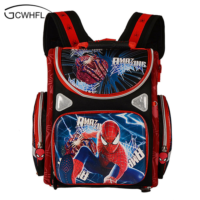 Kids Backpack School Orthopedic Boys Bags Waterproof Child Book Bag Spiderman Motorbike S