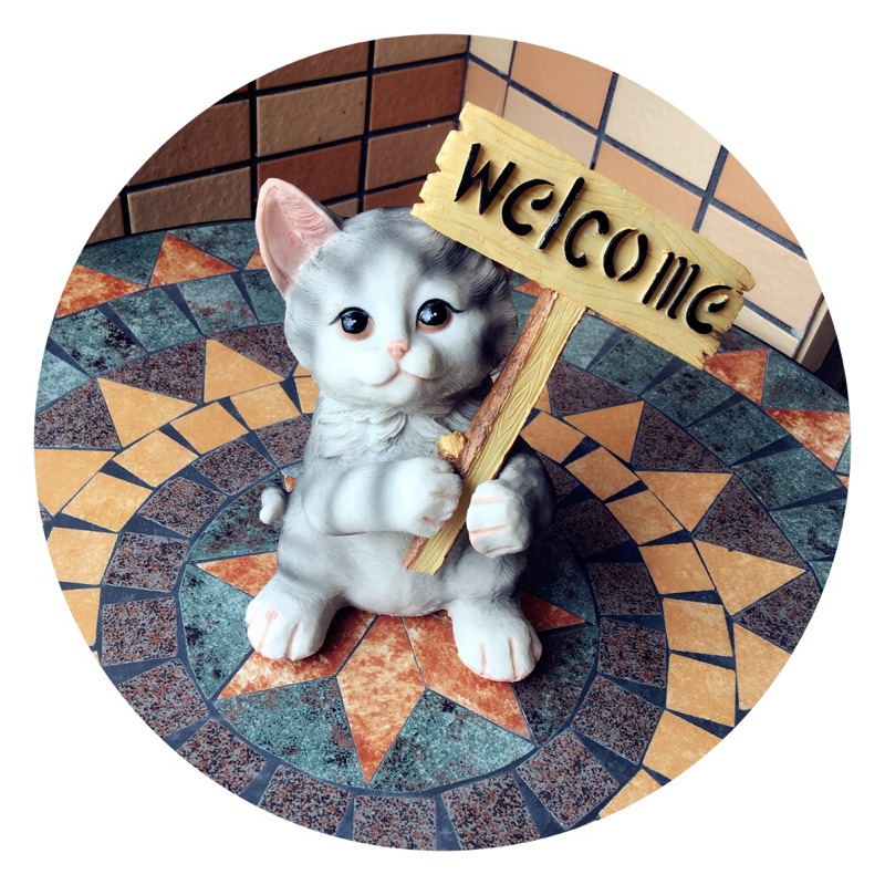 Home Living Room Balcony Home Garden Decoration American Rural Garden Animal Decoration Cat Welcome Card