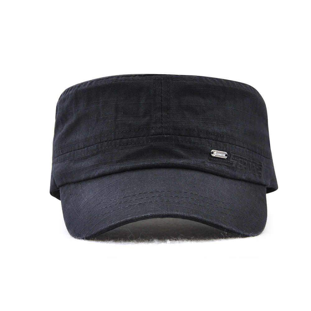 c52da42fc174 Gorra de cadete de estilo militar hombres mujeres de Color puro lavado de  algodón tapa superior plana verano otoño ajustable Chapeau visera sombrero