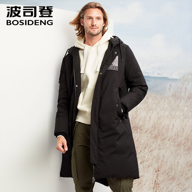 BOSIDENG new winter thicken down jacket hoodie down coat long parka high quality adhibit label draw-string B70141131