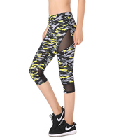 Ao Sheng New Arrival Summer Camouflage Capri Legging High Waist Stretchy Mesh Patchwork Fitness Leggings Bright