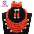 2017 Últimas Profundo Coral Nigeriano Beads Africanos Conjunto de Joyería de Boda Nupcial Conjunto Joyería de Fantasía de Oro Plateado Envío Libre WD846