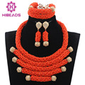 2017 Latest Deep Coral African Beads Jewelry Set Wedding Nigerian Bridal Costume Jewelry Set Gold Plated Free Shipping WD846