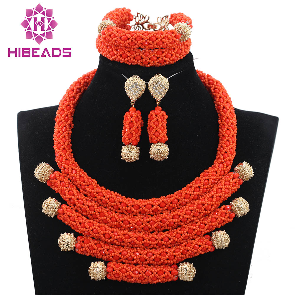 2017 Latest Deep Coral African Beads Jewelry Set Wedding Nigerian ...