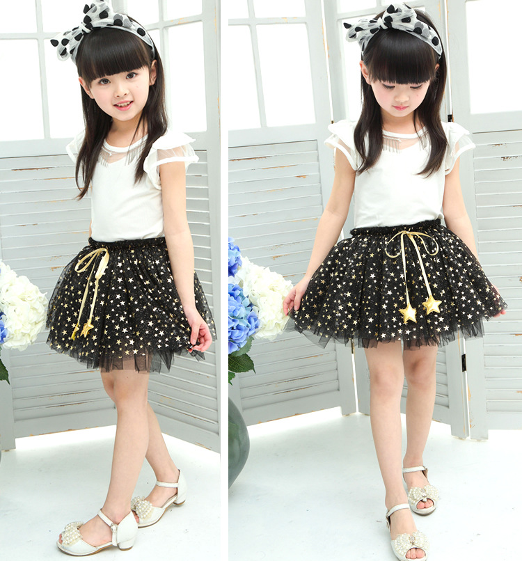 NEW spring autumn Baby Girl Clothes Girls Clothing full stars Sequins mini Skirt Casual school girls ball gown clothes for 4-10T (9)
