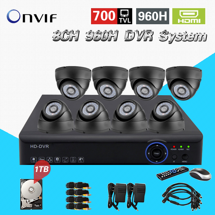 Home Security CCTV Camera DVR System 8pc 700TVL indoor dome ir-cut cameras surveillance Kit for DIY 8ch CCTV System CK-146 home cctv surveillance system 16 channel dvr recording with 16pcs 700tvl dome security camera system cctv dvr kit 16ch ck 206
