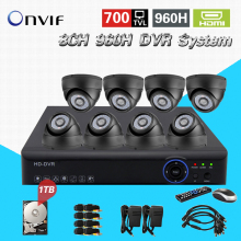 Home Security CCTV Camera DVR System 8pc 700TVL indoor dome ir-cut cameras surveillance Kit for DIY 8ch CCTV System CK-146