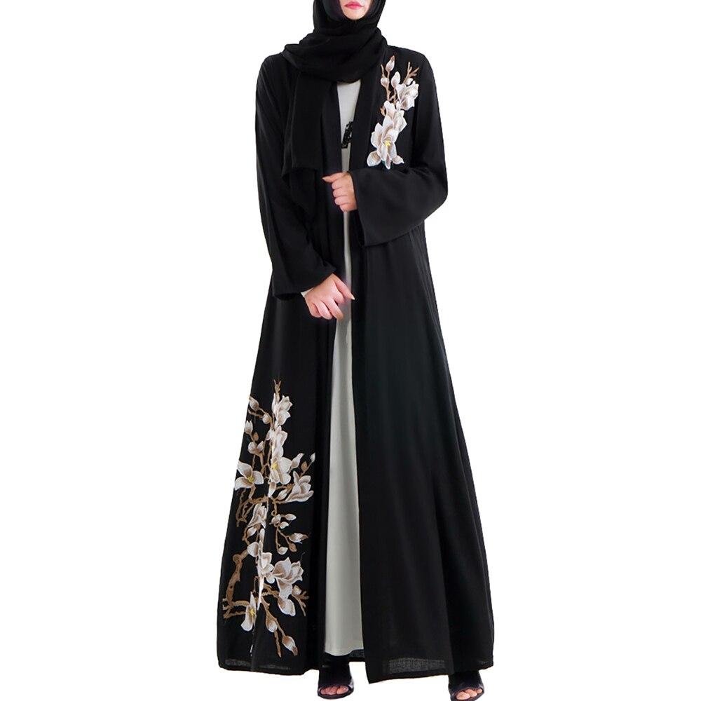 Babalet musulman femmes brodé Cardigan veste Dubai noir Robe islamique arabe haut de gamme Cardigan lâche mince à manches longues