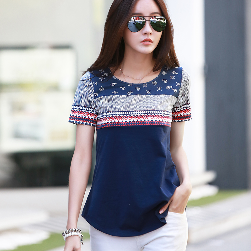 2015 Cotton T Shirt Women Tops Ethnic Style Totem Print Women's T ...