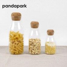 Pandapark 150ML 300ML 600ML Storage Jar Heat Resistant Glass Cork Bottle Tank Tea Pot Seasoning PPM019